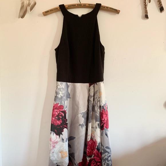 le château floral skirt halter prom/grad dress